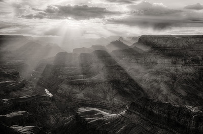 Illuminated Grand Canyon - Lipan Point - B&W