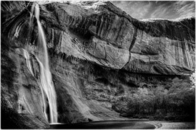 Lower Calf Creek Falls B&W