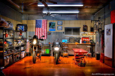 99 - The Moto Shop I spent the day assembling shelving units, organizing gear, and cleaning the motorcycle shop.
