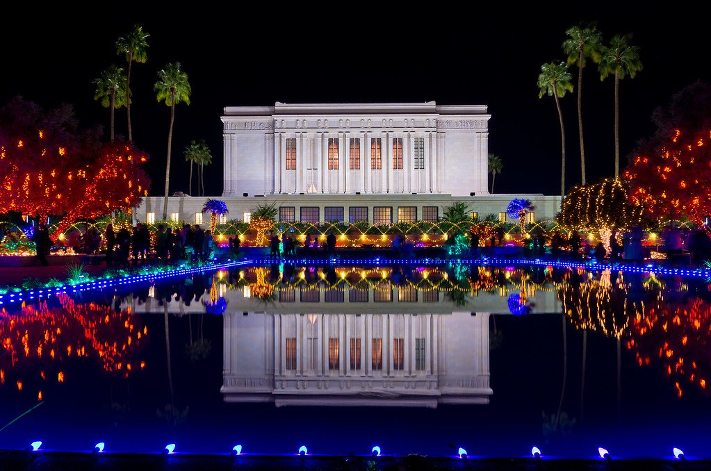 Day 20 - Christmas Lights at the LDS Arizona Temple  We took a family outing with friends to see the amazing Christmas lights display in Mesa, AZ.