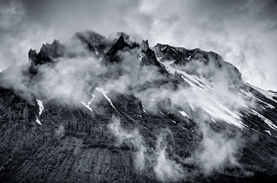 Cloudy Peaks B&W, Near Bear Glacier - British Columbia