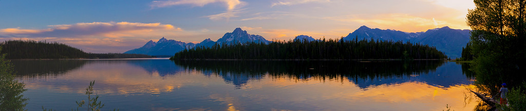 Boy Fishing Grand Tetons Sunset Panorama