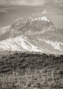 Snow on Four Peaks B&W