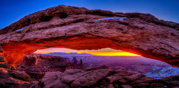 Mesa Arch It was 15 degrees when I arrived at this iconic photo spot in Canyonlands National Park. I arrived 1.5 hours before sunrise, but still had to settle for a less than ideal location because so many other photographers had already set up.